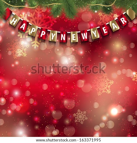 Happy New Year background with hanging pennant on bokeh lights - stock vector
