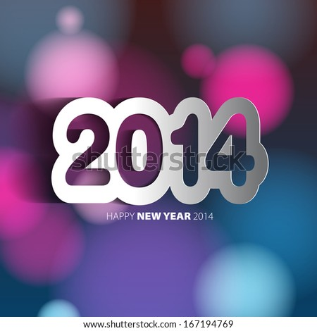 Happy New Year 2014 background with papercut year - vector illustration - stock vector