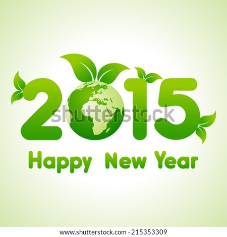 Happy New Year 2014 background with save the world concept  - stock vector