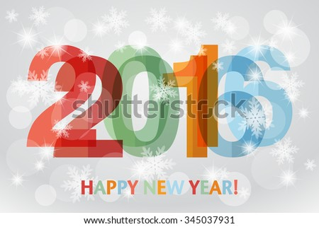 Happy New Year 2016 background with snowflakes. Overlapping digits design.