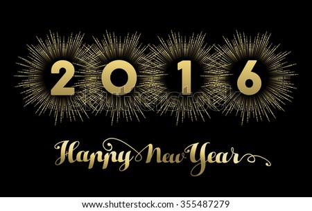Happy new year 2016 banner design, gold text with firework explosion decoration. EPS10 vector. - stock vector
