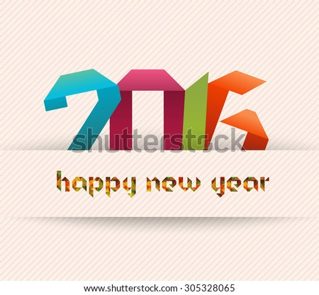 Happy new year 2016 banner, origami and geometrical illustration. Calendar cover design - stock vector