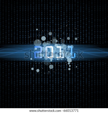 Happy new year.Binary background 2011.Vector illustration. - stock vector