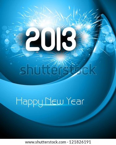 Happy new year 2013 blue colorful background - stock vector