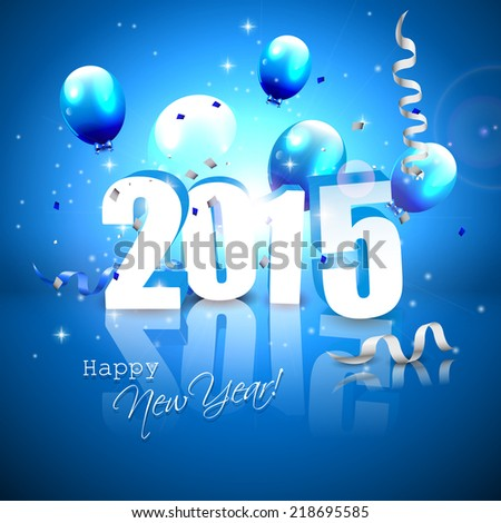 Happy New Year 2015 - blue greeting card with 3D numbers  - stock vector