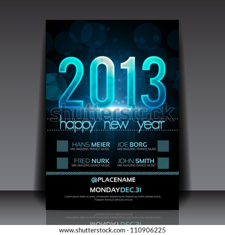 Happy New Year 2013 Blue Vector Flyer Template - stock vector