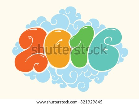 Happy new 2016 year, bubble styled lettering. Typographic illustration for calendar. Inscription for cards. Colorful design. - stock vector
