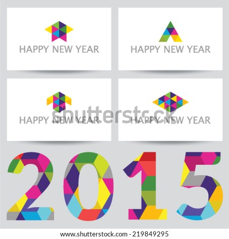 Happy New Year 2015 - business cards with a collection of logos - stock vector