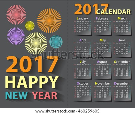 Happy New Year 2017 calendar card design flat colors on gray background vector illustration.