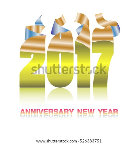 Happy New Year 2017. Calendar design typography vector illustration. gold and yellow sticker on white background with shadows.