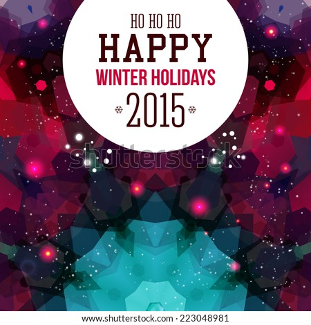 Happy New Year Card. Colorful mosaic background. Vector illustration.