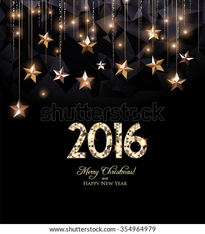 Happy New Year 2016 card, gold letters and gold stars - stock vector