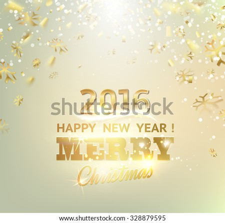 Happy new year card. Gold template over gray background with golden sparks. Happy new year 2016. Gray underwater abstraction. Fallen sparks and sun rays in the gray area. Vector illustration. - stock vector