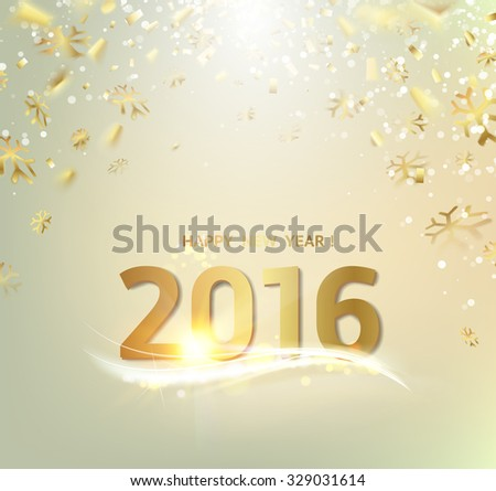 Happy New Year Card Gold Template Over Gray Background With Golden Sparks