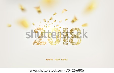 Happy new year card over gray background with golden confetti. Happy new year 2018. Holiday card. Template for your design. Vector illustration.