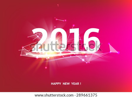 Happy new year card over red background with white polygonal lines. Vector illustration. - stock vector