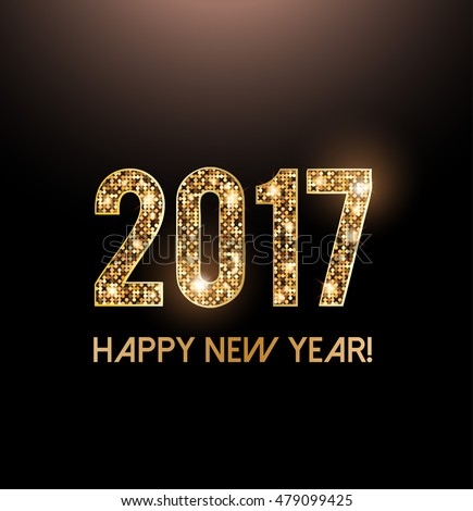 Happy New Year 2017 card, sniny gold letters