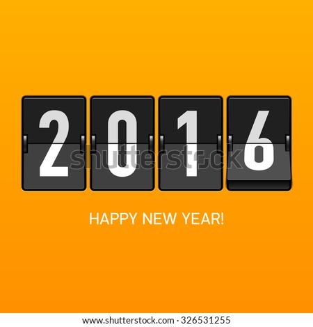 Happy New Year 2016 card, split flap display. Vector. - stock vector