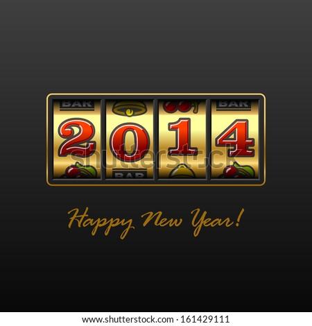 Happy New Year 2014 card. Vector. - stock vector
