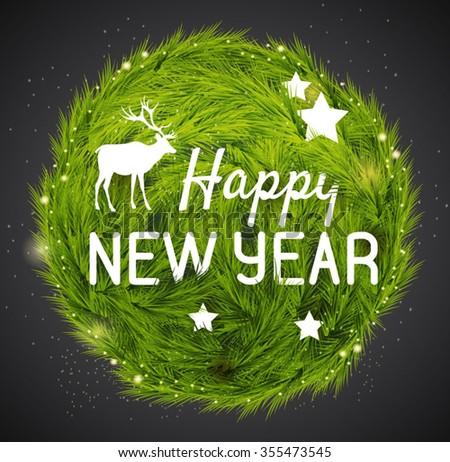 Happy new year card. Vector illustration  - stock vector