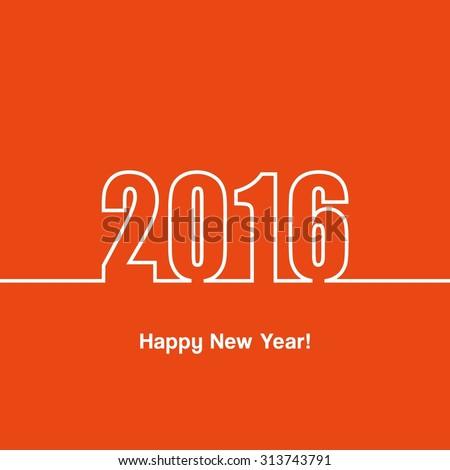 Happy new year 2016. Card. Wallpaper. Graphic. Vector illustration.
