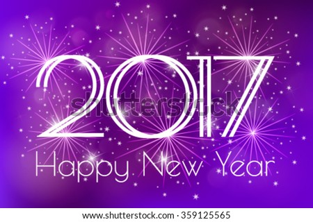 Happy New Year 2017 Card with blue fireworks glowing fire on blurred blue purple background. Poster, greeting card, banner or invitation. Vector illustration EPS 10 - stock vector