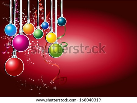 Happy new year card with colorful christmas balls. X-mas background.