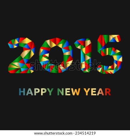 Happy New Year card with colorful elements within the numbers - stock vector