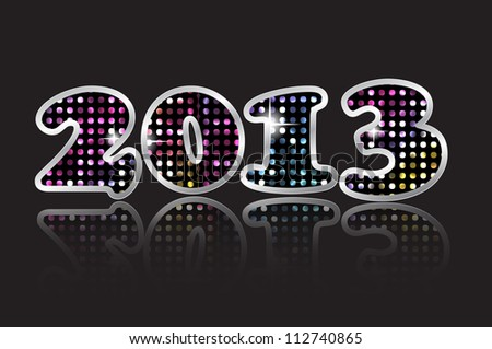 Happy new year 2013 card with glowing  mosaic and reflection Vector - stock vector