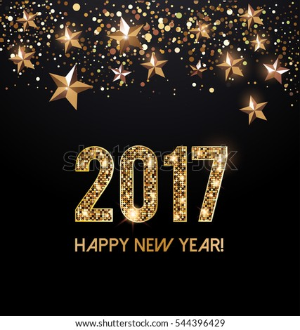 Happy New Year 2017 card with gold letters and gold stars