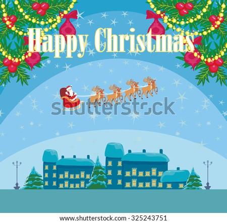 Happy New year card with Santa  - stock vector