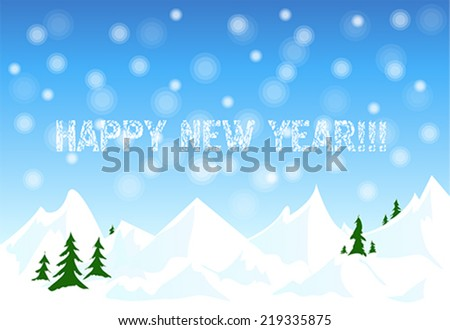 Happy new year card with winter snow landscape, illustration, vector  - stock vector