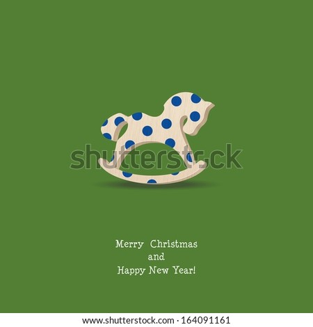 Happy New Year  Card with Wooden Rocking Toys Horses - stock vector