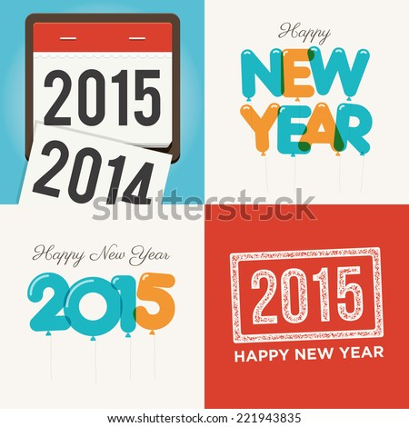 Happy new year cards 2015 - stock vector