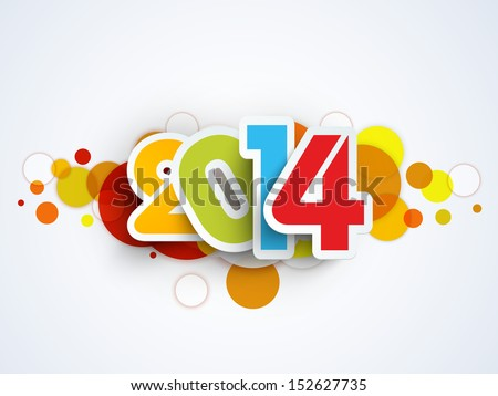 Happy New Year 2014 celebration background.  - stock vector