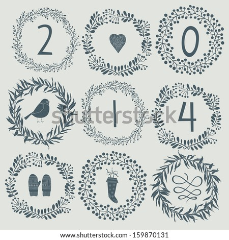 Happy New Year 2014 celebration background - stock vector