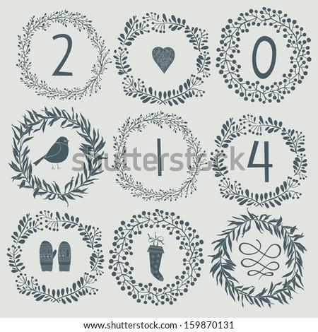 Happy New Year 2014 celebration background - stock vector