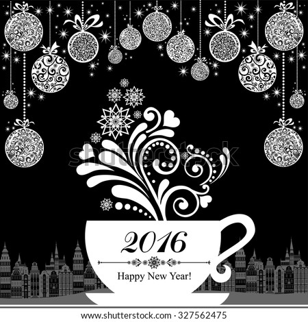 Happy new year 2016. Celebration background with cup, Christmas balls and place for your text. Christmas cup with floral design elements. Menu for restaurant, cafe, bar, tea-house. Vector Illustration - stock vector