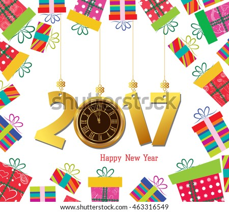 Happy new year 2017. Celebration background with gift boxes and clock