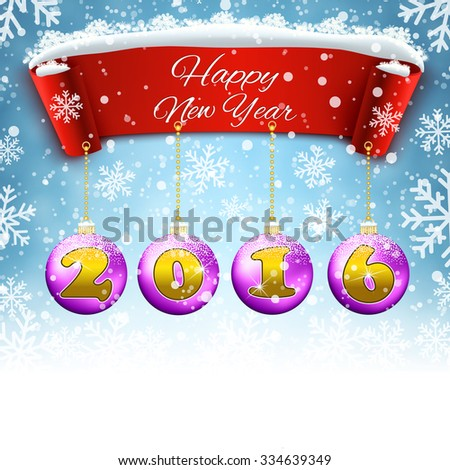 Happy New year 2016  celebration background with red realistic ribbon banner and snow and ball. Vector illustration