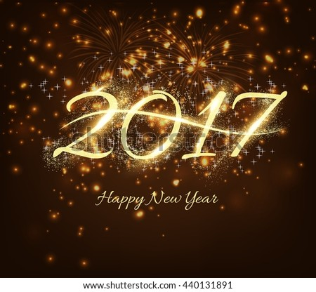 Happy New Year 2017 celebration background with shiny text, fireworks in night background - stock vector