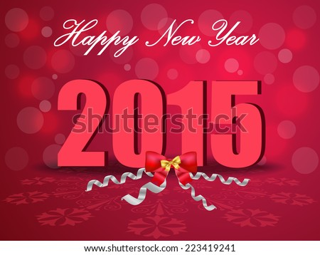 Happy New Year 2015, celebration concept with bow ribbons on beautiful glow background vector - eps10 - stock vector
