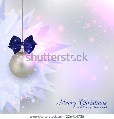 Happy New Year 2015 celebration concept with silver ball over shining chrystal background and place for text. Abstract background. Vector illustration.