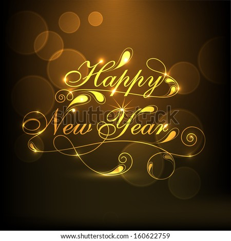 Happy New Year 2014 celebration concept with stylize golden text on brown background.  - stock vector