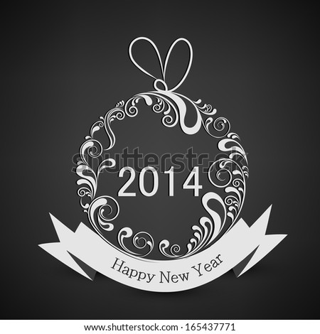 Happy New Year 2014 celebration flyer, banner or poster with floral decorated Christmas ball with ribbon on grey background.
