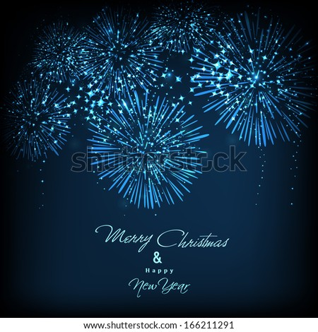 Happy New Year 2014 celebration flyer, banner, poster or invitation with beautiful fireworks in night. . - stock vector
