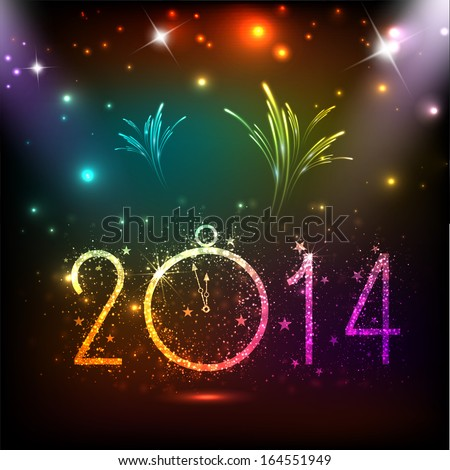 Happy New Year 2014 celebration flyer, banner, poster or invitation with colorful shiny text, clock on colorful fireworks background.  - stock vector
