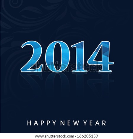 Happy New Year 2014 celebration, flyer, banner, poster or invitation with glossy blue text on abstract blue background.
