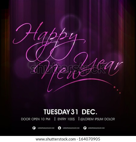 Happy New Year 2014 celebration flyer, banner, poster or invitation with shiny purple text on dark background.  - stock vector