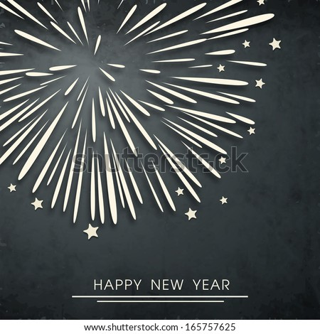 Happy New Year 2014 celebration flyer, poster, banner or invitation with fireworks on grey background.  - stock vector